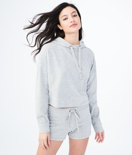 Heathered Velour Crop Pullover Hoodie