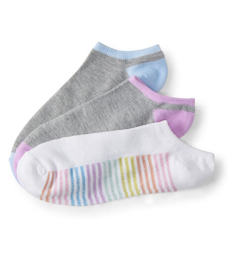 3-Pack Metallic Stripe & Colorblock Ankle Socks