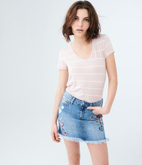Embroidered Light Wash Denim Mini Skirt