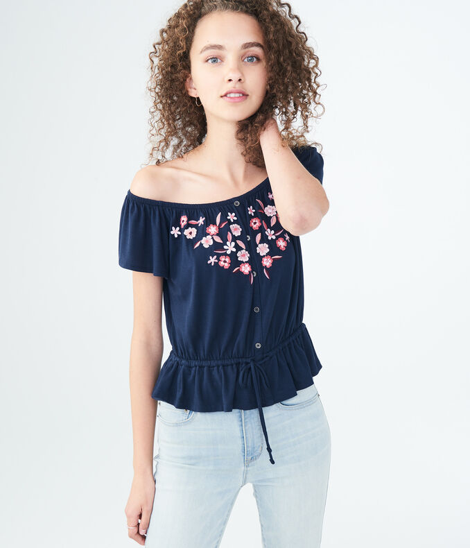 Embroidered Off-The-Shoulder Peasant Top