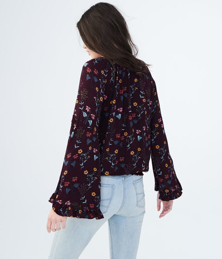 Long Sleeve Floral Tie-Front Peasant Top