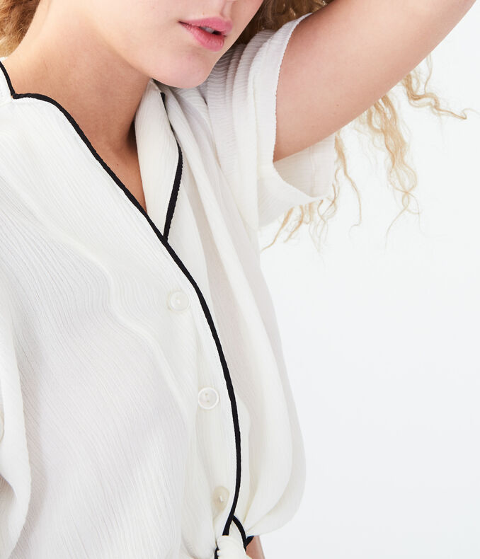 LLD Piped Tie-Front Crop Sleep Top