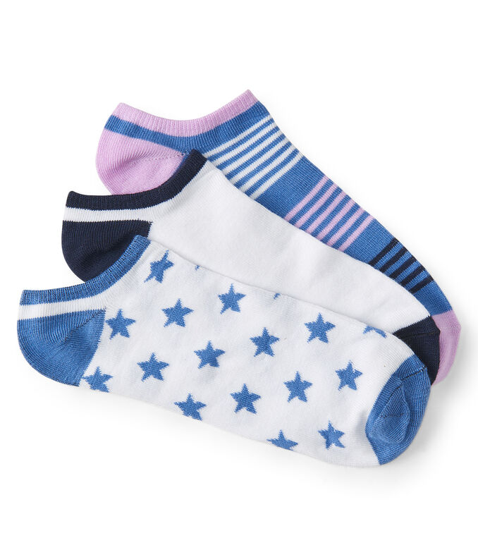 3-Pack Star, Stripe & Colorblock Ankle Socks