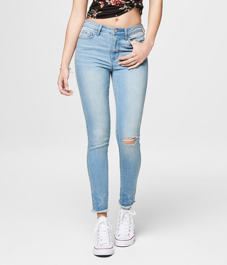 Seriously Stretchy Light Wash Blasted Knee High-Waisted Ankle Jegging
