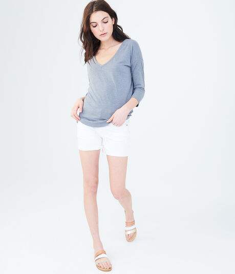 3/4 Sleeve Solid V-Neck Tunic Tee