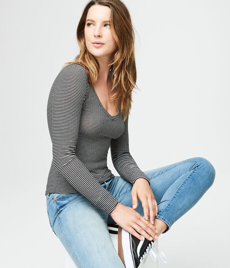 Long Sleeve Striped V-Neck Layering Tee