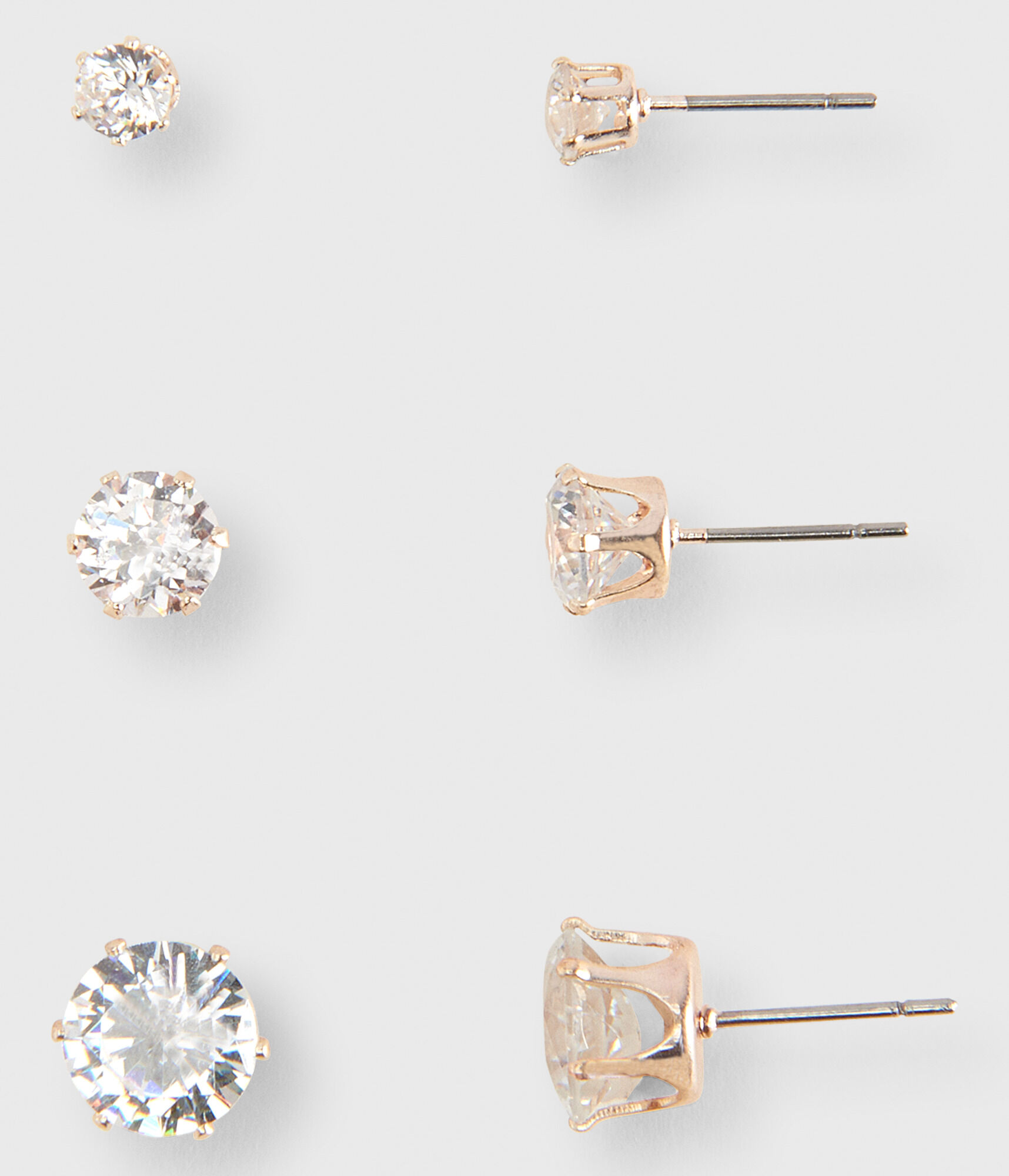 earrings zirconia with white cubic or screw l stud cz back solitaire gold solid