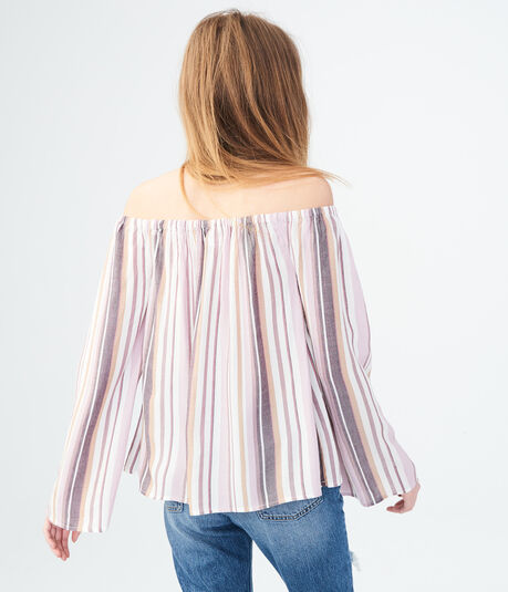 Long Sleeve Striped Off-The-Shoulder Top