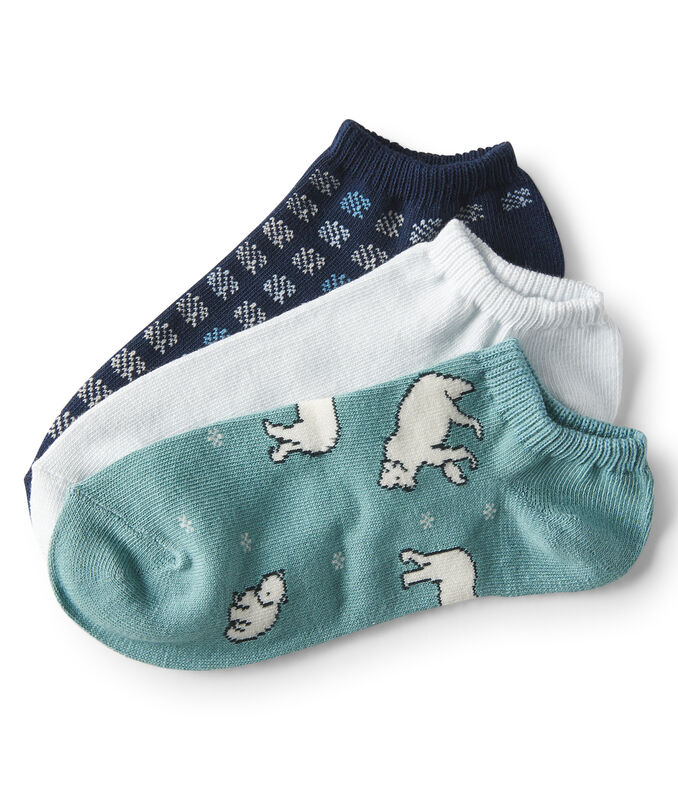 3-Pack Polar Bear, Solid & Circle Ankle Socks