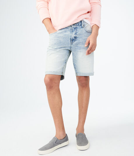 Bleached Wash Cuffed Reflex Denim Cut-Off Shorts