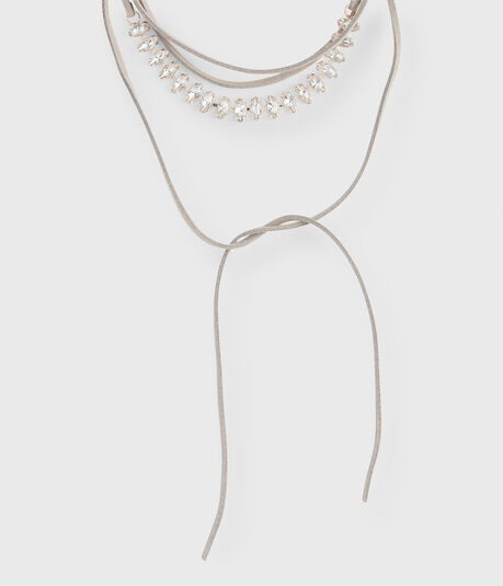 Oval Rhinestone Choker Lariat Long-Strand Necklace