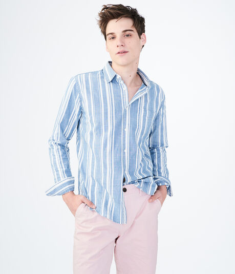 Long Sleeve Vertical Denim Stripe Woven Shirt