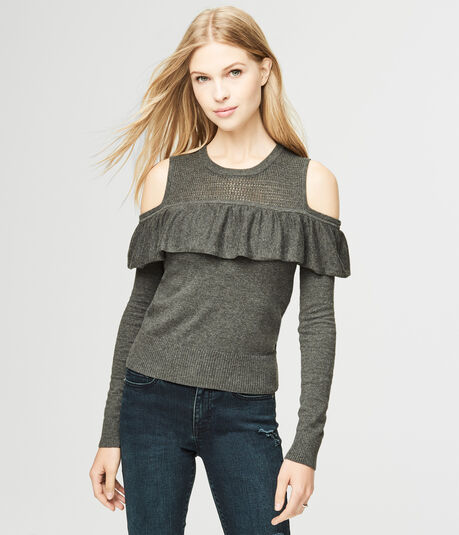 Ruffled Cold-Shoulder Sweater