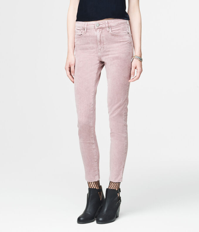 High-Waisted Corduroy Ankle Jegging