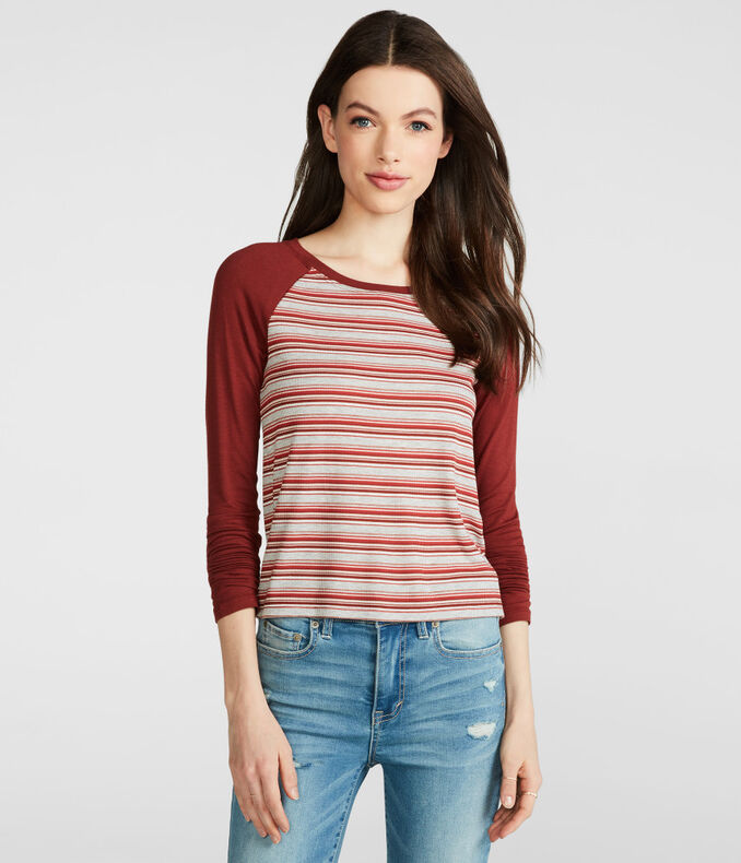 Prince & Fox Ribbed Stripe Baseball Top