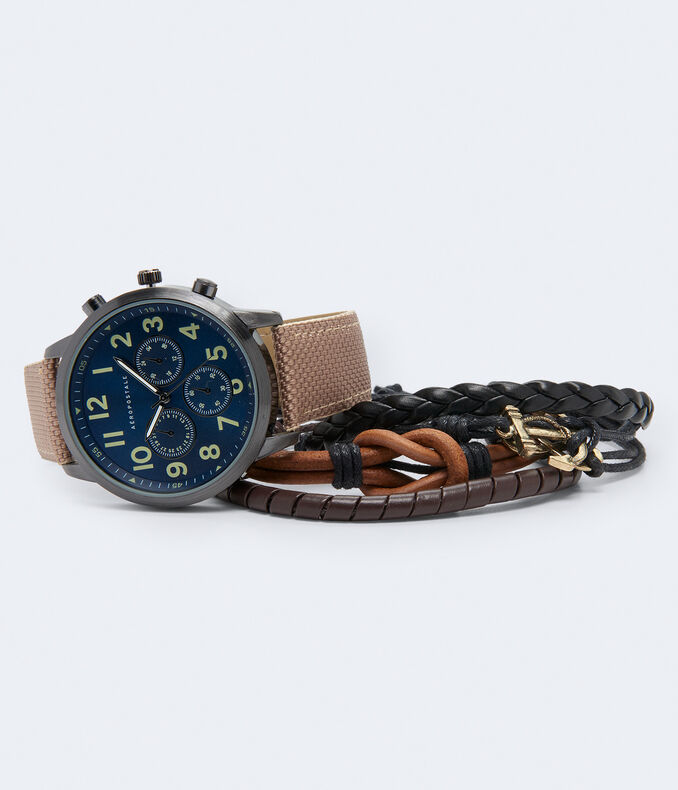 Woven Chrono Analog Watch & Bracelet Set by Aeropostale
