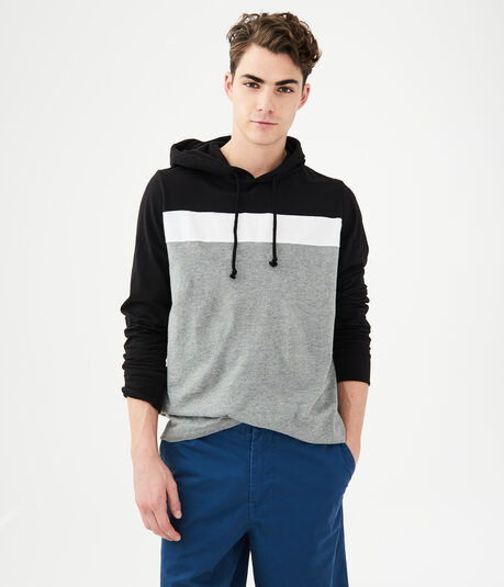 Long Sleeve Chest Stripe Hooded Tee