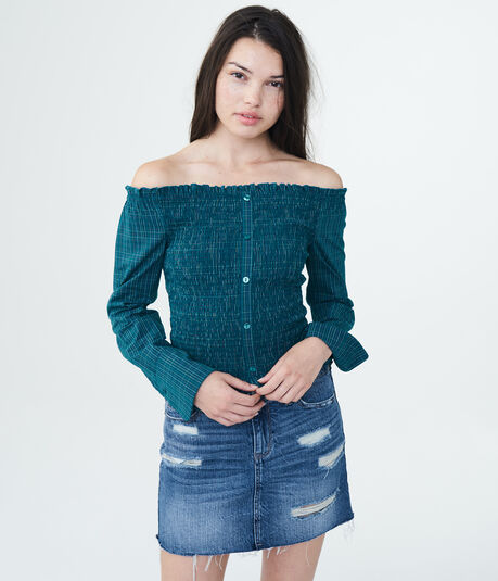Long Sleeve Plaid Smocked Off-The-Shoulder Top