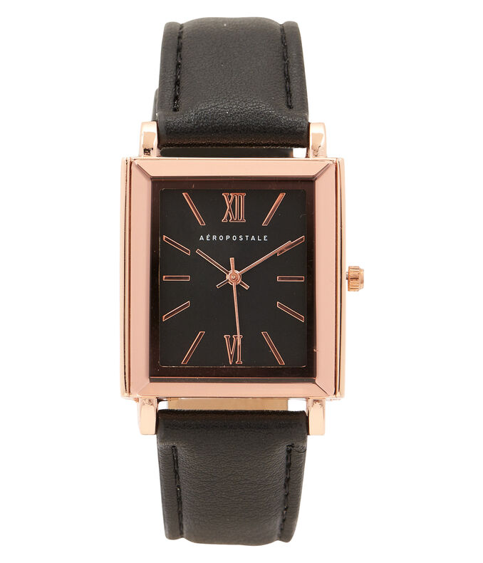 Faux Leather Square Analog Watch