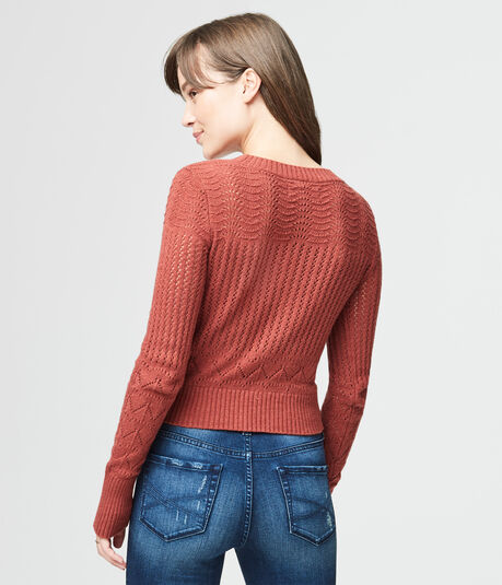 Mixed Stitch Lace-Up Crop Sweater