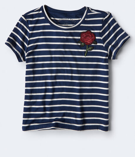 Seriously Soft Rose Striped Girl Tee