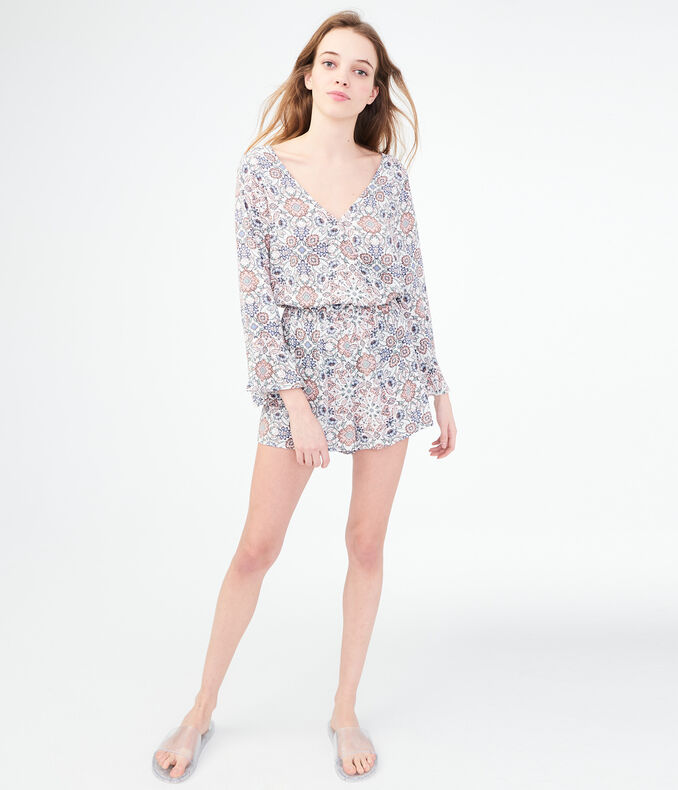 Long Sleeve Floral Wrap-Front Romper