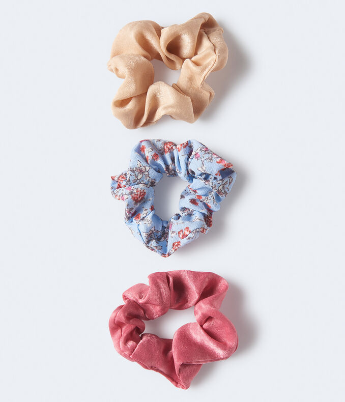 Floral & Solid Scrunchie 3-Pack