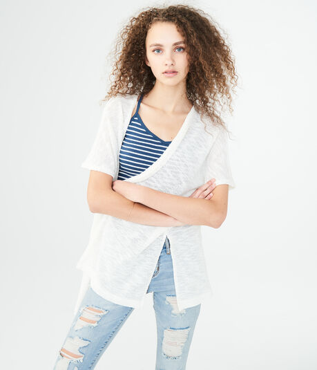 Solid Dolman Sleeve Open Cardigan
