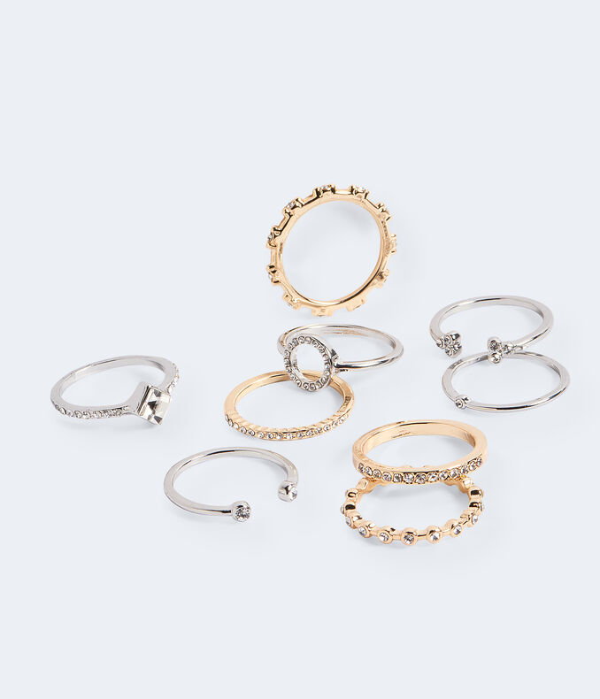 Multi Metal Rhinestone Ring 9-Pack