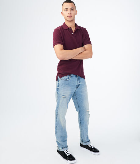 Straight Medium Wash Destroyed Reflex Jean