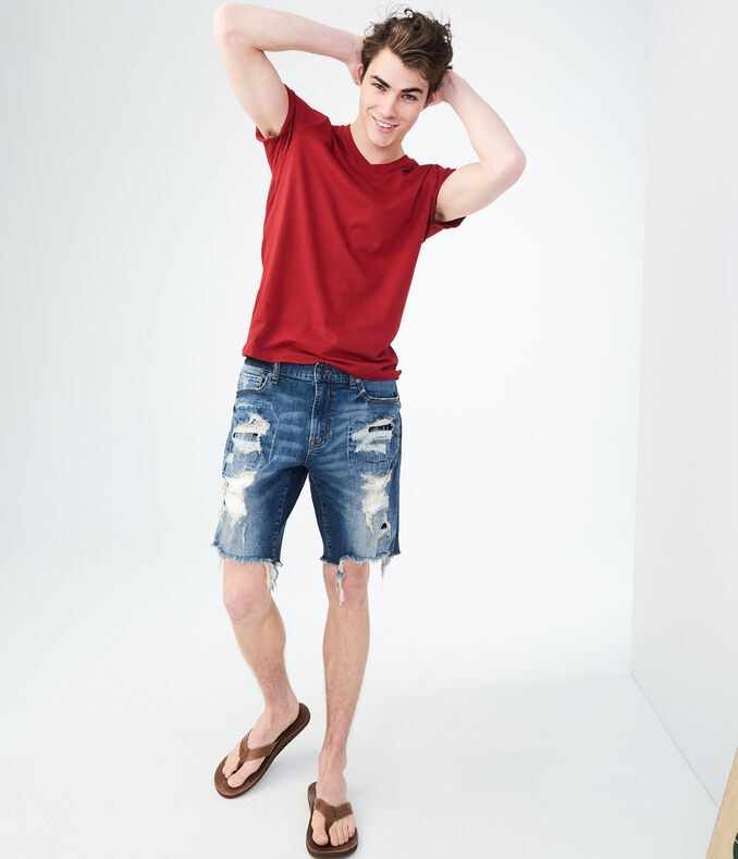 Dark Wash Super-Destroyed Stretch Denim Cutoff Shorts