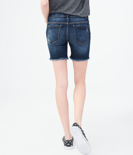 Dark Wash Destroyed Denim Bermuda Shorts