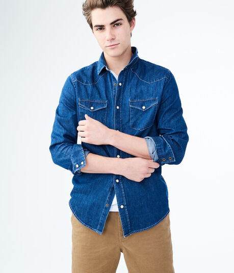 Long Sleeve Denim Western Woven Shirt