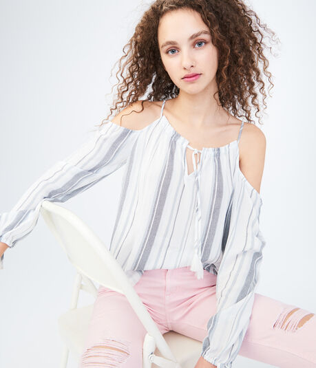 Long Sleeve Striped Cold-Shoulder Top