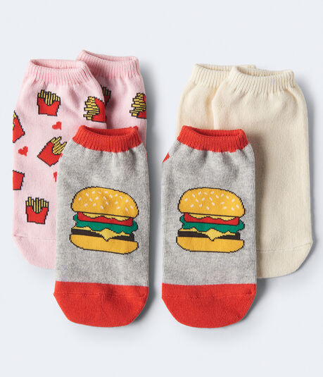 3-Pack Burger, Fries & Solid Ankle Socks