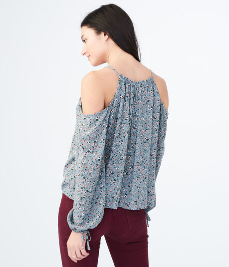 Long Sleeve Floral Cold-Shoulder Top