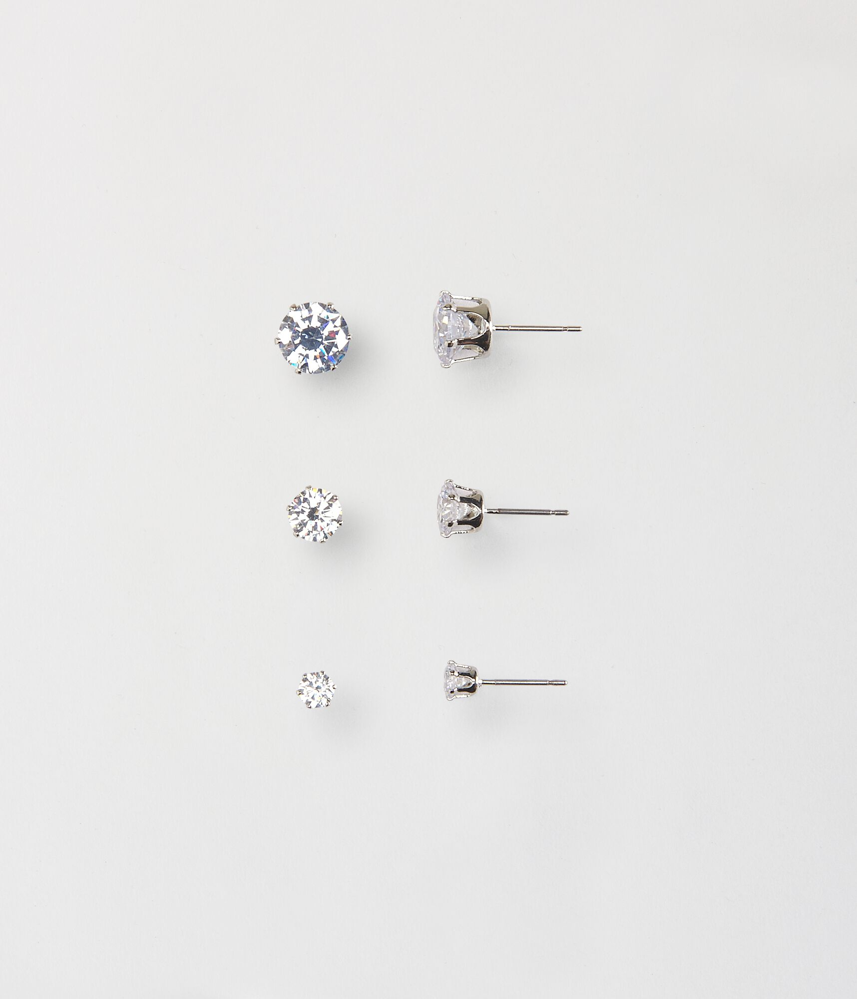 us stud pack icing silver cubic sterling earrings zirconia