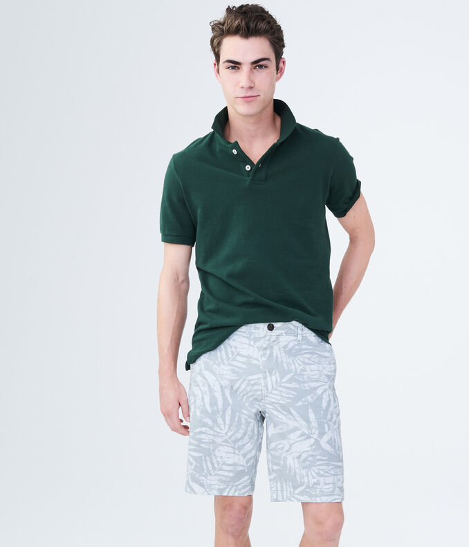 Palm Leaf Stretch Flat Front Chino Shorts by Aeropostale