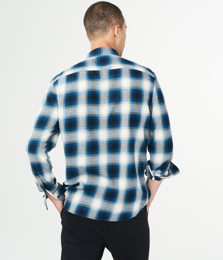 Long Sleeve Ombre Plaid Woven Shirt