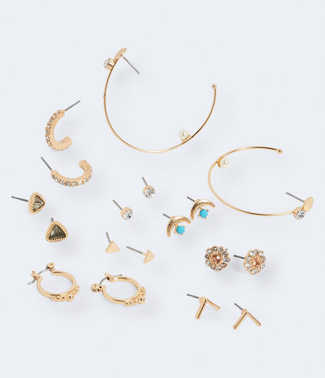 Moon Jewel Stud & Hoop Earring 9-Pack