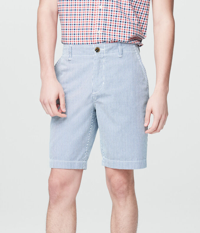 Corded Stripe Flat-Front Shorts