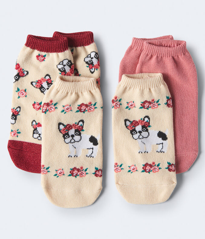 3-Pack French Bulldog & Solid Ankle Socks