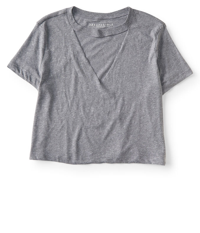 Heathered Choker-Neck Tee
