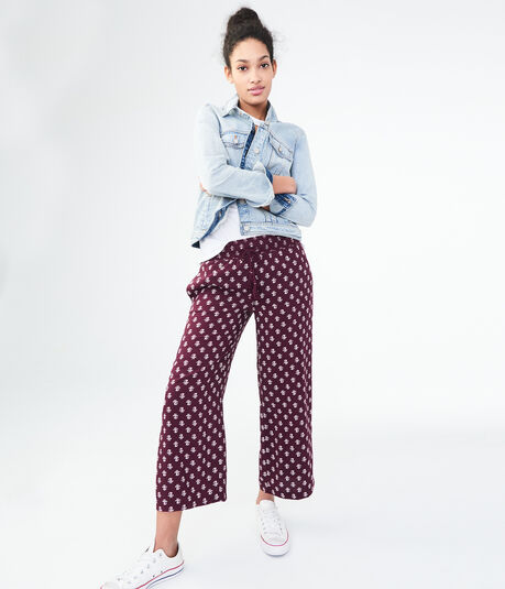 Ditsy Floral Wide-Leg Crop Pants