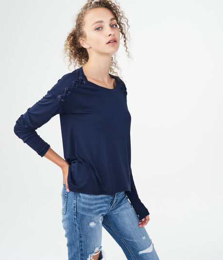 Long Sleeve Laced Grommet Top