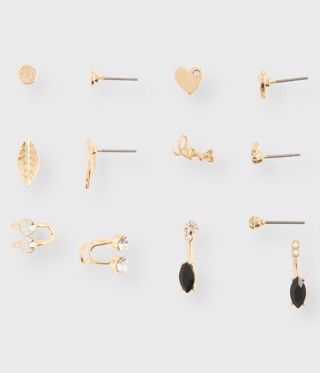 Heart Stud & Cuff Earring 6-Pack