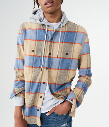 Long Sleeve Hooded Plaid Woven Shirt