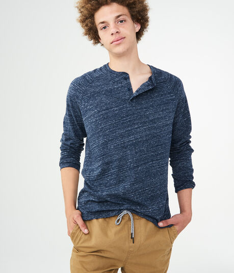Long Sleeve Heathered Henley