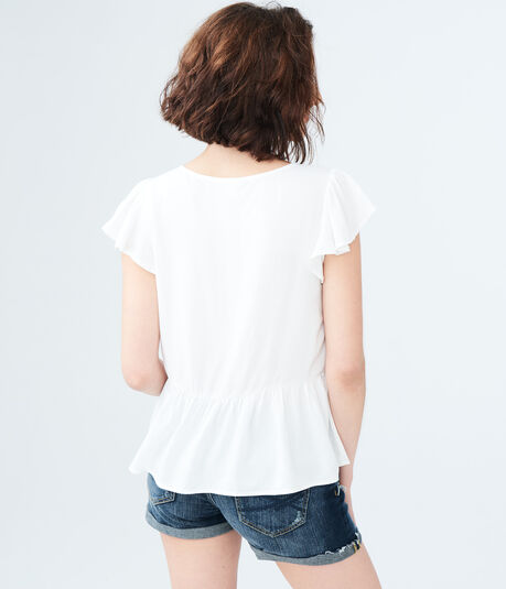 Solid Grommet V-Neck Top