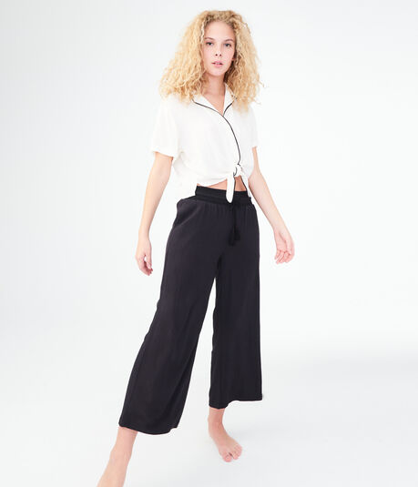 Solid Wide-Leg Crop Pants